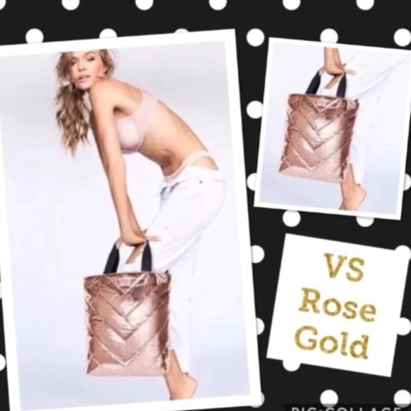 Victoria's Secret Handbags - Victoria's Secret Rose Gold Quilted Tote Bag
